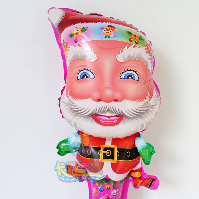30inch length 20pcs/lot Santa Claus Father Merry Christmas balloons trees hand Stick ballon party foil globos Party Decoration<br><br>Aliexpress