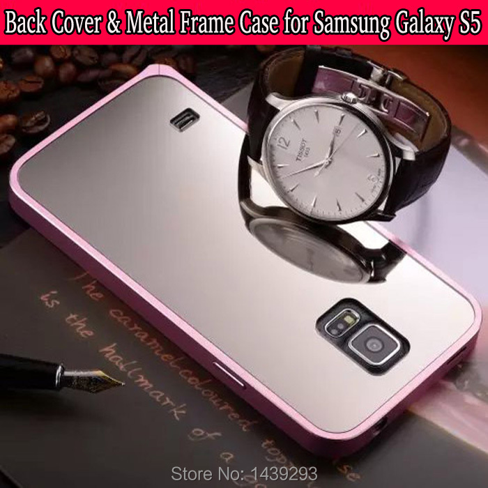5 Pcs/lot Samsung Galaxy S5/SIV/I9600 Mirror Tempered Glass Battery Back Cover + Metal Frame Case Phone Shell Replacement