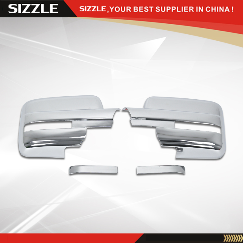 2009 2010 2011 2012 2013 2014 F150 Chrome Tow Mirrors Cover Full With Turn Signal Light Cutout Cover Trim(China (Mainland))