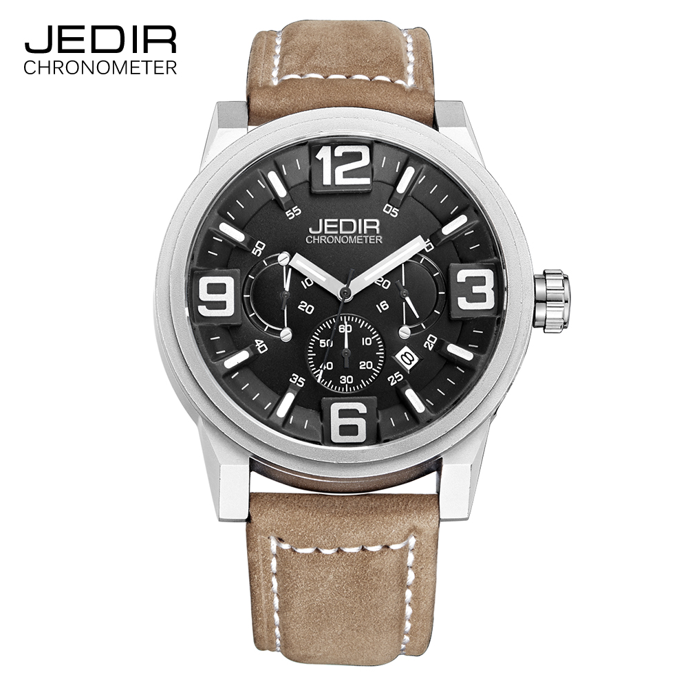 JEDIR Watches Mens Top Large Dial Quartz Clock Waterproof Chronograph Sport Leather Band Wrist Watch relogio masculino J3010(China (Mainland))
