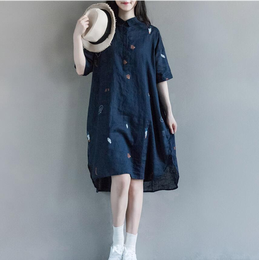 2016 Summer Women Cotton And Linen Loose Long Dress Plus Size Short Sleeve Turn-down Collar Maxi Dresses Folk Art Style Casual(China (Mainland))