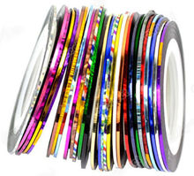 Lots 30Pcs Mixed Colors Rolls Striping Tape Line Nail Art Decoration Sticker(China (Mainland))