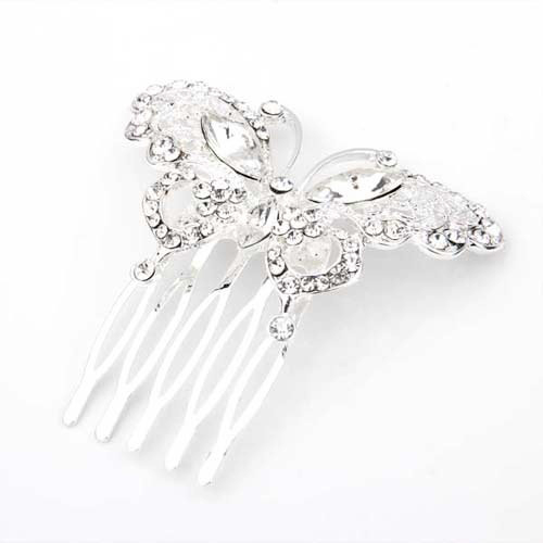 2015 Best Silver butterfly rhinestone bridal hair comb inserted comb teeth five 60 x 55 mm(China (Mainland))
