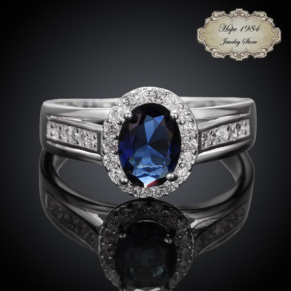 2015 New Silver plated Vintage elegant Blue Red Oval CZ diamond wedding engaegement ring for women fashion jewelry 925 Sterling(China (Mainland))