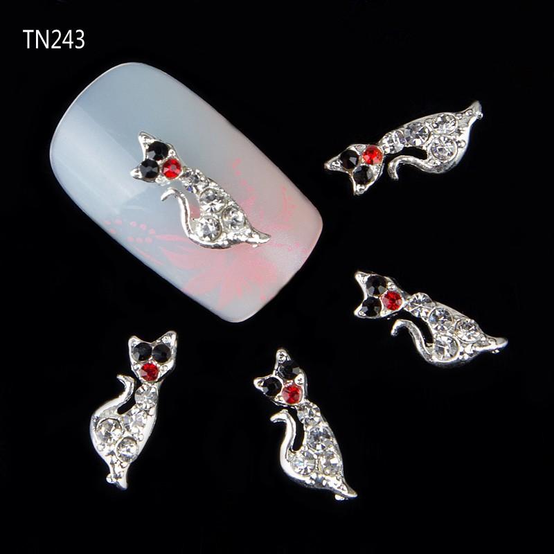 New 20pcs/pack Sexy Cat Shape 3D Nail Art Charm Decorations Glitter Jewelry Rhinestones for Nail Art Studs Nail Tools TN243(China (Mainland))