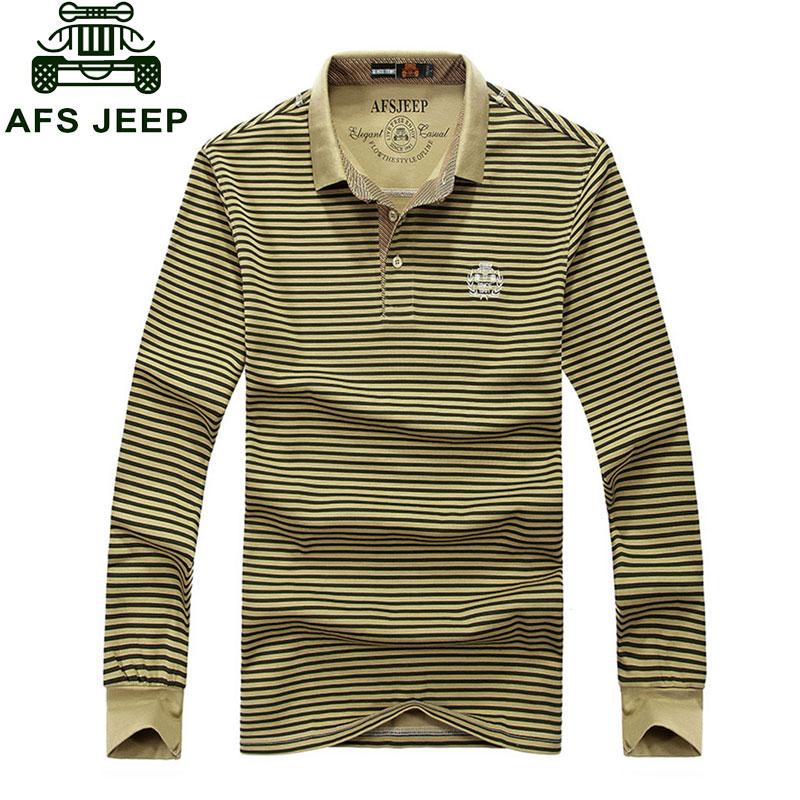 CLOTHES Brand Clothes 2017 Autumn Casual Men's Polo Shirts Striped Army Green Khaki Long Sleeve Shirt Cotton Tops Tees Clothes