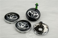 car tuning] Fast shipping 4pcs 60mm TOYOTA Black Wheels Center Cap, Good Quality Wheel Decal Sticker For Toyota