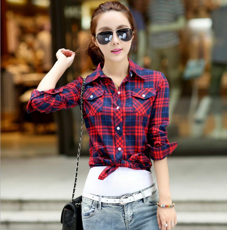 blusas a cuadros de algod n moda para mujer tallas grandes camisas de