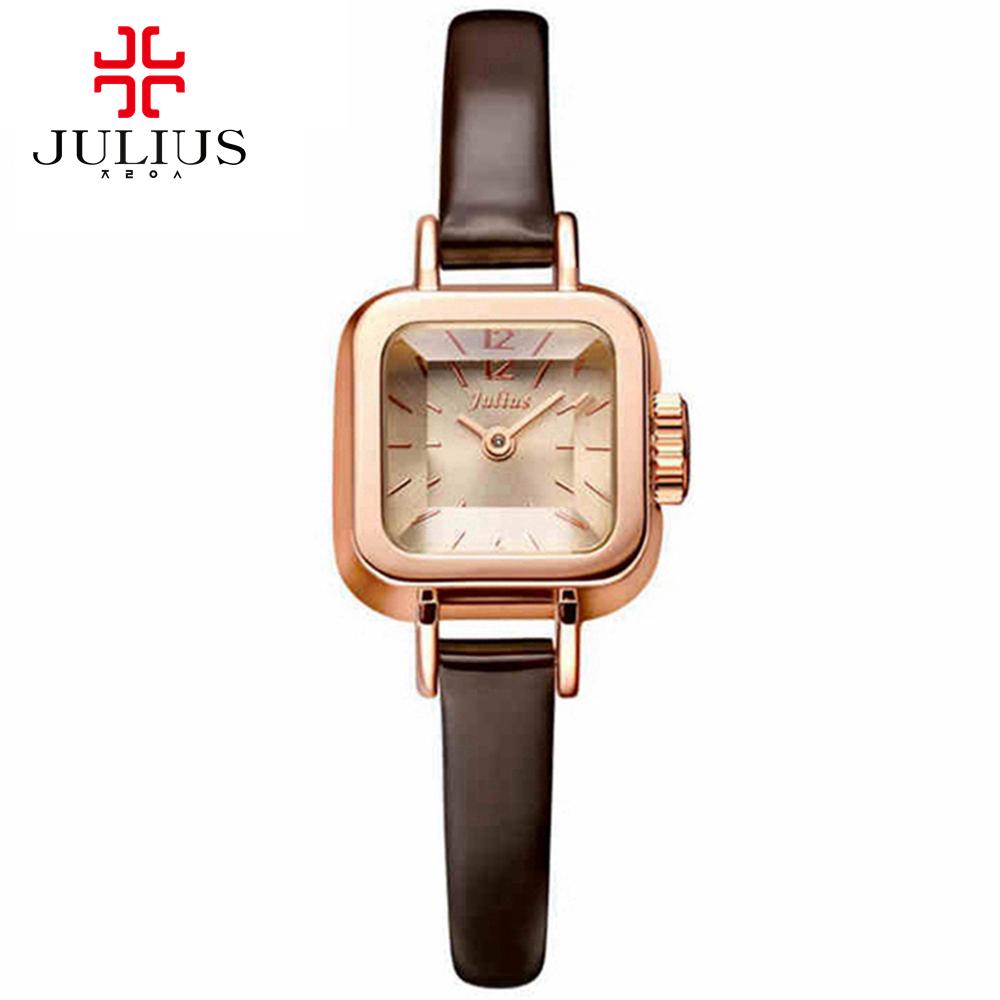 Hot women lovely Anolog wristwatch ladies leather watches fashion casual quartz watch Best Julius 496 Square dial Korea clocks<br><br>Aliexpress