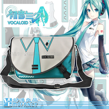 New Japanese school style cos Anime Hatsune Miku Uniform tie pattern cross body Flap bag green 35*23*9.5cm messenger bags(China (Mainland))