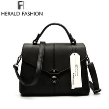 Buy Herald Fashion Brief Women Handbag Solid Flap Shoulder Bag Top-Handle Tote Bags 2017 New Arrival Ladies Messenger Bag for $16.47 in AliExpress store