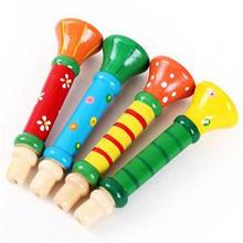 1Piece Random Color Colorful Wooden Trumpet Buglet Hooter Bugle Educational Toys For Kids Children Toy Musical Instrument(China (Mainland))