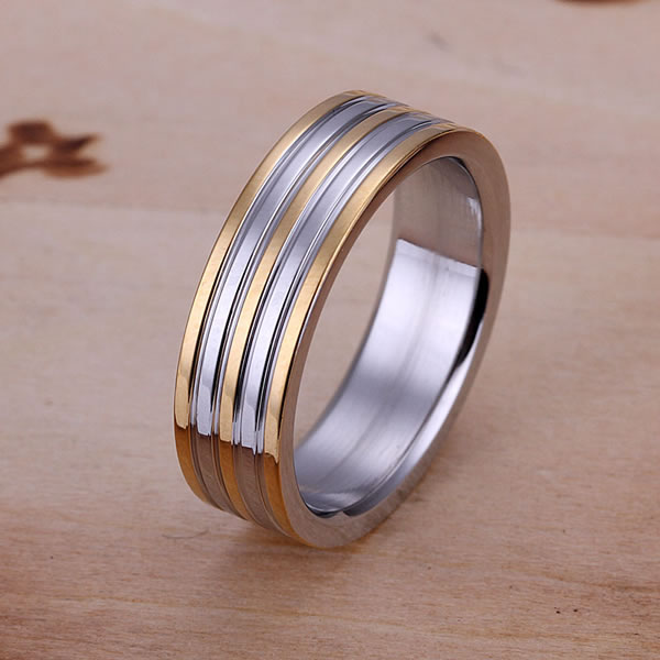 R099 925 silver ring, fashion jewelry, Golden Stripe Ring  -  fengqin gong's store store