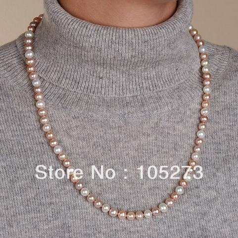 Wholesale Pearl Jewelry White And Pink Purple Natural Freshwater Pearl Necklace 24inch Top Quality Fashion Style Free Shipping<br><br>Aliexpress