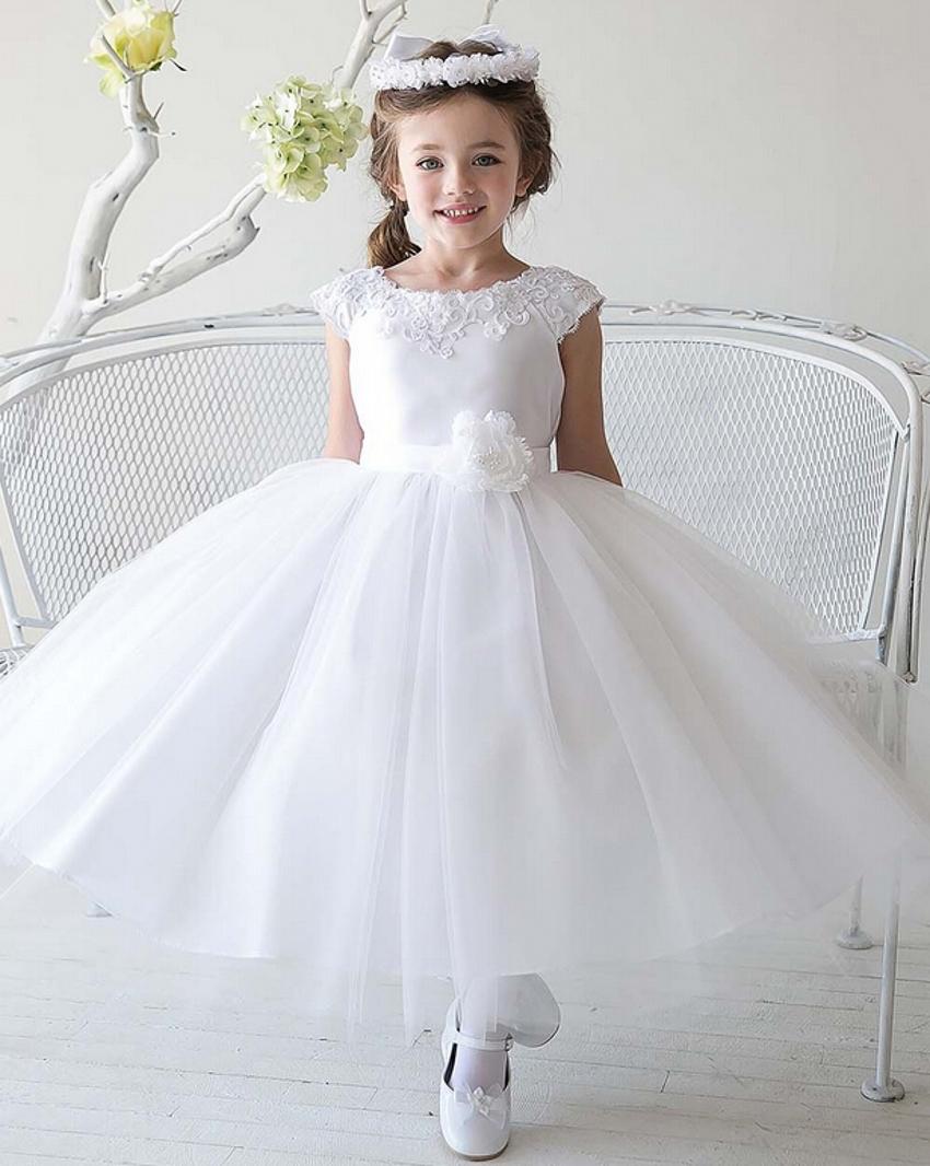 Cheap Simple Tulle Flowergirl White Flower Girl Dresses