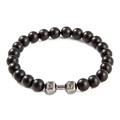 Matte agate mens bracelets silver barbell bracelet dumbbell bracelet meninos Pulseira men jewelry bijoux homme for
