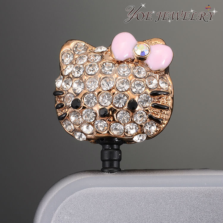 Fashion hello Kitty Dust Plug with Butterfly bow & Crystal & Rhinestone Phone Dust Plug For Sumsung Accessoires(China (Mainland))