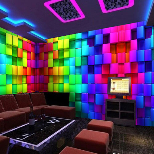 abstract 3d cube wall murals wallpaper reflectorised ktv decorative plaid mural wall covering. Black Bedroom Furniture Sets. Home Design Ideas