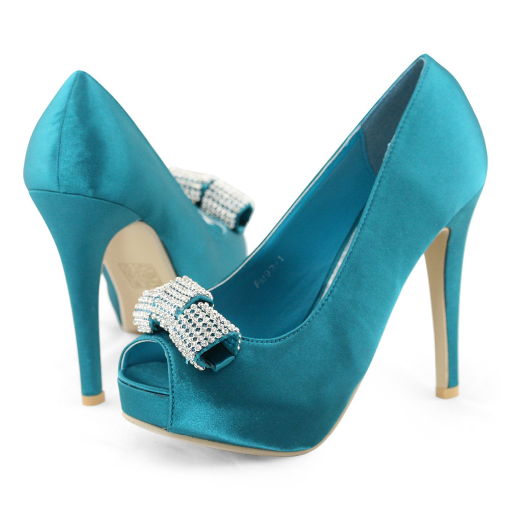 SHOEZY Brand Blue Open Peep Toe Shoe Women High Heels Pumps Shoes Satin Silk