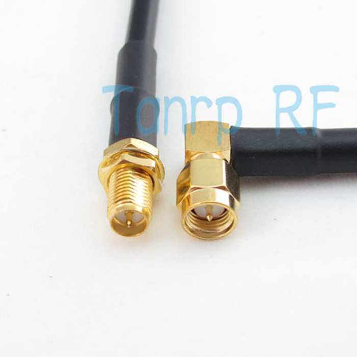 Freeshipping! RG58 RF Pigtail jumper coaxial LOW LOSS cable RP-SMA female jack to SMA male plug right angle 6FEET 200CM(China (Mainland))