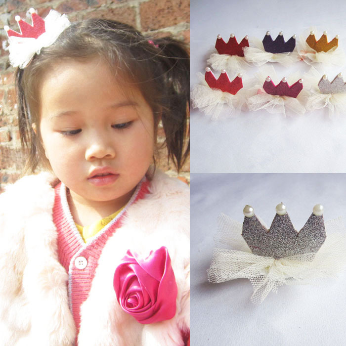 Pearl Crown Baby Girl Hair Clip Band Infant Children Headwear Flower Hairpin Accessories 6 Color 15A004 - Monica Moon's store