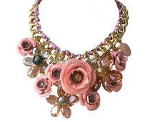 2014 New Z Brand Fashion Pink Crystal Necklace Pendants Chunky Big Choker Mental Flower Vintage Collar Necklace Best Lady N0440B