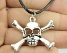 Buy 24pcs/lot Wholesale fashion antique bronze, antique silver color 27*38mm bone skull pendant leather necklace for $18.98 in AliExpress store