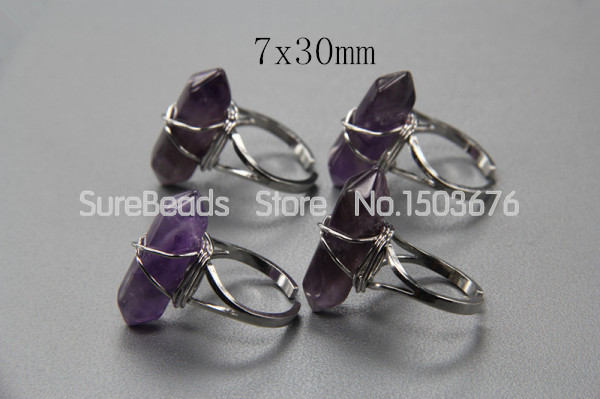 5pcs/lot,Double Crystal Point Adjustable Rings Wire Wrapped,Natural Amethyst Quartz Polished Silver Druzy Rings(China (Mainland))