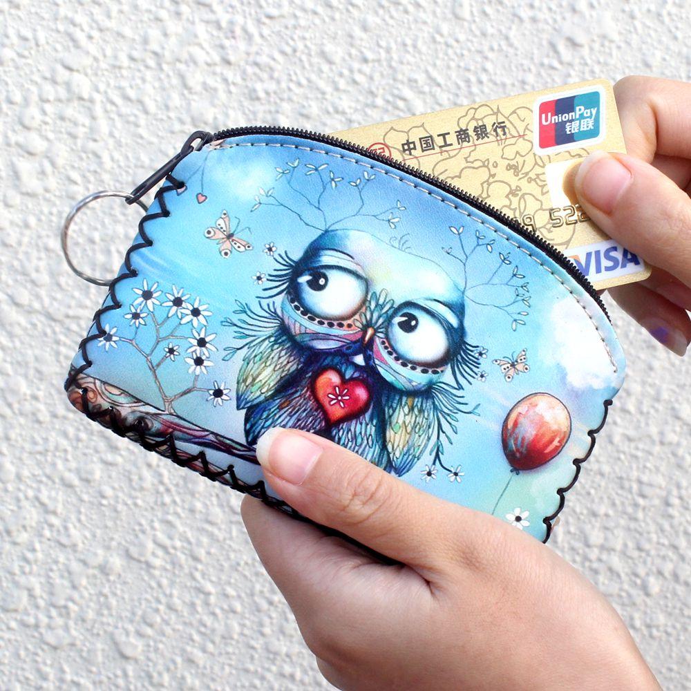 New graffiti cat elephant owl coin purse,Change purse card holder Handmade Hem wallets purse women clutch zipper coins bag pouch(China (Mainland))
