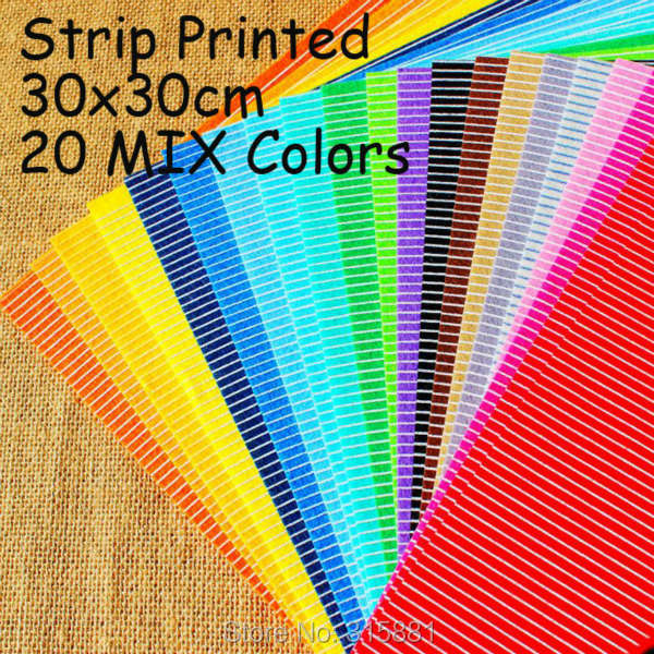 Strip Printed Felt Fabric Polyester DIY felt fabric non-woven 30CM X 30CM 20mix colors(China (Mainland))