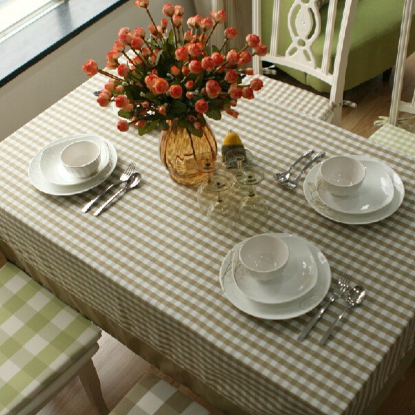 Spring New Coffee Color Tablecloth Small Lattice European Table Cloth Overlay Cover High Quality Customize Dinner Room Cloth(China (Mainland))