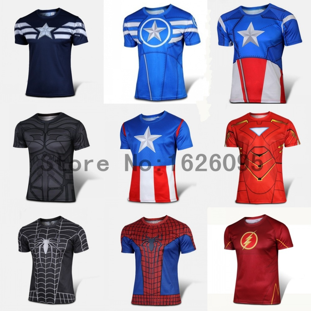 Marvel Super Heroes Avengers Captain America T shirt Men Compression Armour Base Layer Thermal Under Top Sport fitness T shirt(China (Mainland))