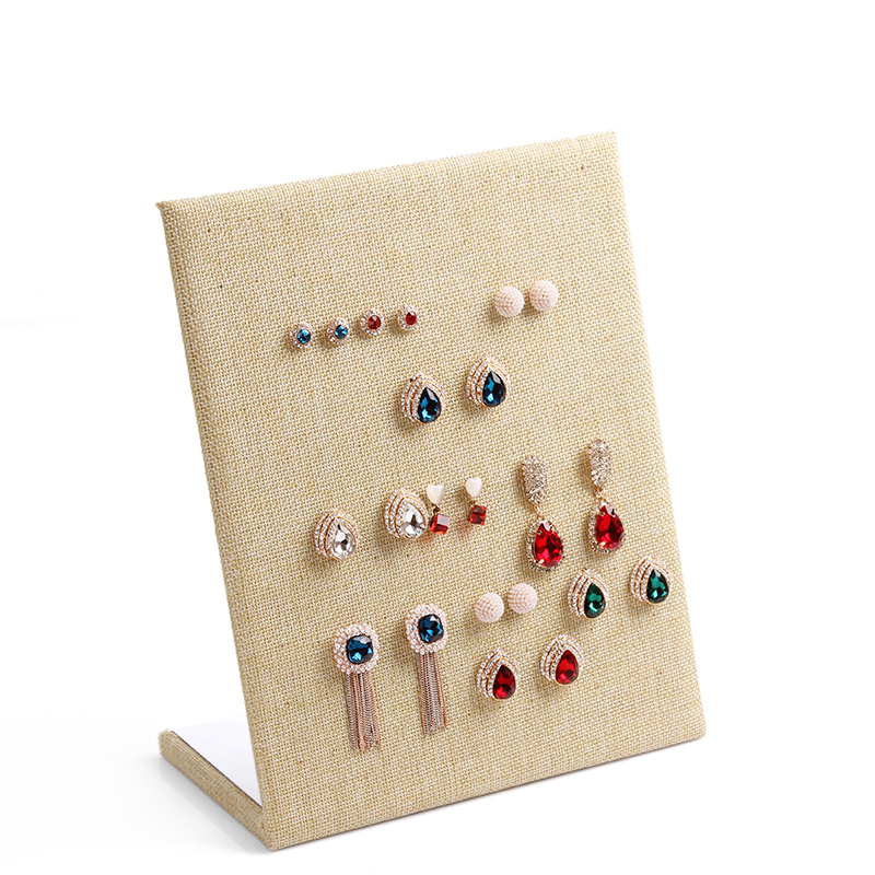 Free shipping Linen Material display shelf board pin earrings jewelry display stand earring holder jewelry box store shelf(China (Mainland))