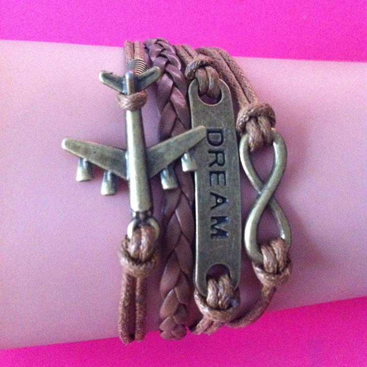 Fashion bronze plane DREAM Infinity charm wrap link bracelet with men women decorative wrap link bracelet<br><br>Aliexpress