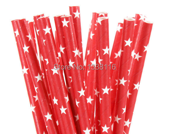 100pcs Red White Star Design Paper Straws Party Supplies Party Straws Eco crarft paper(China (Mainland))