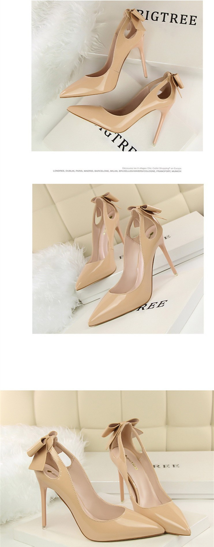 Size 4~8 Autumn Sexy Nude Women Shoes 6 Color Bowties High Heels Shoes Pointed Toe Women Pumps zapatos mujer (Check Foot Length)