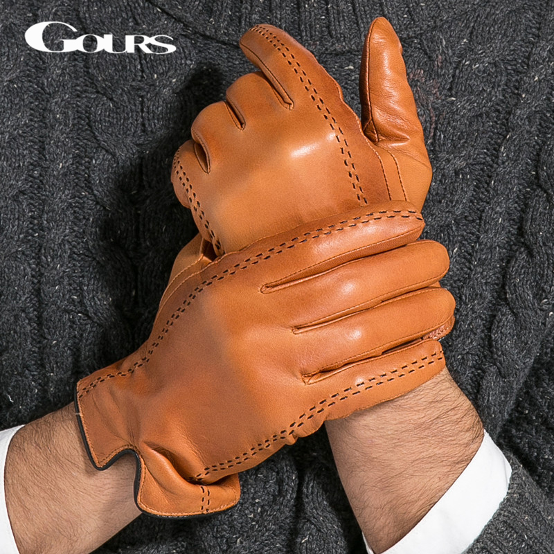 Gours Winter Men's Genuine Leather Gloves New Brand Touch Screen Gloves Fashion Warm Black Brown Glove Goatskin Mittens GSM012(China (Mainland))
