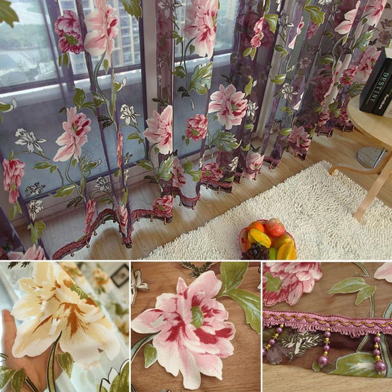 1 Pcs Elegant Floral Tulle Voile Window Curtain Panel Sheer Drape Scarf Valances(China (Mainland))