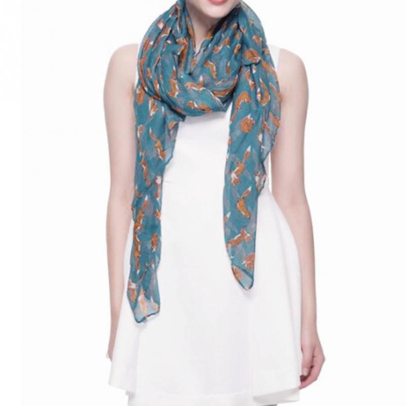 new fashion Circle Scarves: Cute Fox Print Infinity Loop Scarf,Silk scarves Dress collocation(China (Mainland))