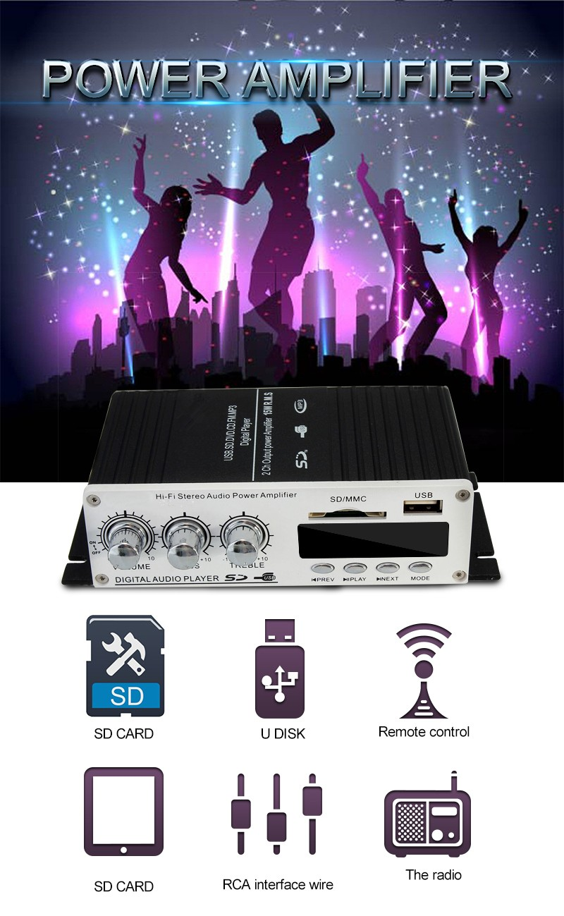 Super Bass USB Mini Stereo Audio Car Power Amplifier USB DVD CD With FM MP3