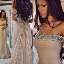 Buy Sexy Design Strapless Mermaid Evening Dresses 2017 Prom Dress Appliques Beaded Pleat Sweep Train Vestido De Festa for $155.48 in AliExpress store