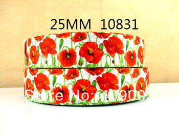 10Y10831 kerryribbon freeshipping 1'' flowers pattern printed ribbon Grosgrain ribbon diy packing headwear garment accessoires