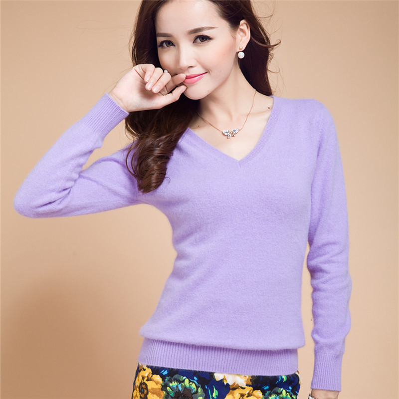 New2015 Cashmere Sweater Women Spring Cashmere Pullovers Long Sleeve V-Neck Slim Knitwear Summer Style Knitted Jumper 21Color(China (Mainland))