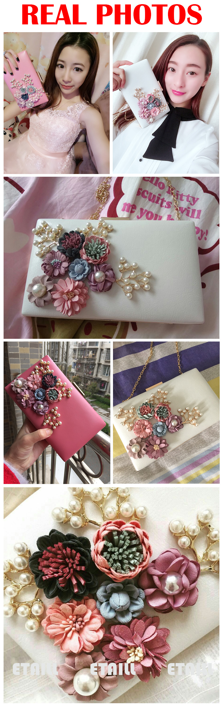 Floral Beaded Clutch Bag Clutches Purses With Chain