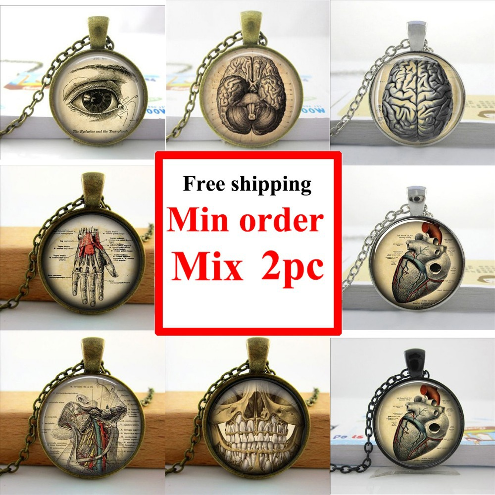 Wholesale Glass Dome Necklace Anatomical Lung Necklace Vintage Medical Illustration Glass Art Picture Necklace