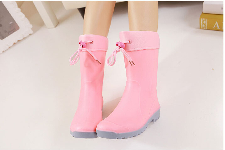 2015 hot sale Autumn and winter female knee-high rainboots women's rain boots fashion rubber boots plus velvet slip-resistant(China (Mainland))