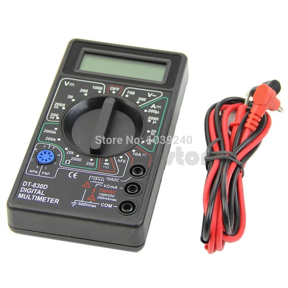 Free shipping Mini Digital Multimeter with Buzzer Voltage Ampere Meter Test Probe DC AC LCD