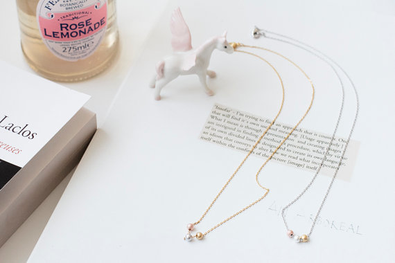 Three beautiful Beads Pendant necklace, gold/silver/rose gold color Leisure Jewelry, Alloy necklace Wholesale free shipping(China (Mainland))