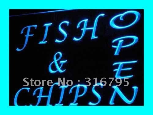 i174-b OPEN Fish Chips Cafe Restaurant LED Neon Light Sign wholeselling Dropshipper(China (Mainland))