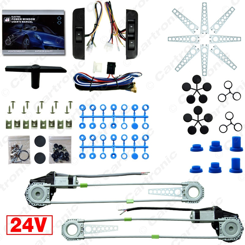 New Universal 24V 2 Doors Car Electric Power Window Kits With 3pcs Switches High Technology Japanese Motor #CT3844(China (Mainland))